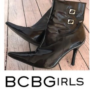 BCBGIRLS black patent pointed toe booties